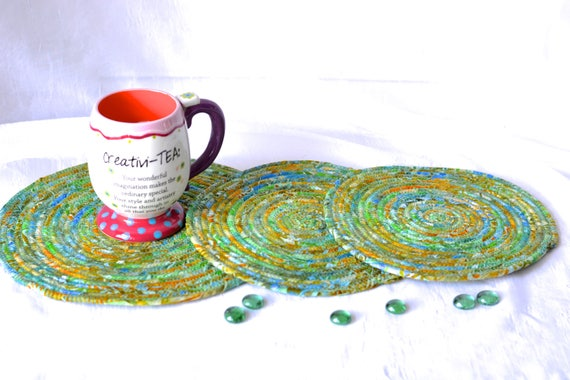 Rustic Place Mats, 3 Handmade Sea Green Table Rugs, Artisan Quilted Batik Hot Pads, Woodland Mug Rugs, Meadow Green  Batik Trivets