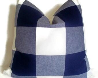 Buffalo Check Pillow Cover, Indigo Large Buffalo Check Pillow Oversized Navy Check 0