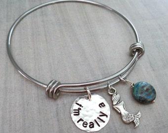 Mermaid Bracelet - I'm really a Mermaid Bangle- Always be a Mermaid Bracelet- Beach Sun Beach babe Sea Marine Bracelet Mermaid-B26