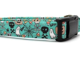 Teal Halloween Graffiti Dog Collar | Your choice of metal buckle or plastic buckle | Halloween Dog Collar | Boy Dog Collar | Girl Dog Collar