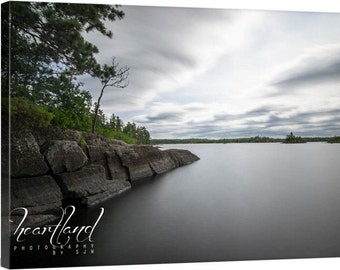 Nature Photography, Boundary Waters, Canvas Wall Art, BWCA Lake Photo, Minnesota Images, Landscape Picture, Neutral Colors, Smooth Water