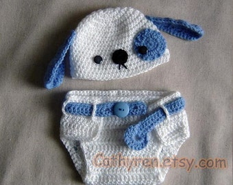 Baby Puppy Hat and Diaper Cover Set, Photo prop - INSTANT DOWNLOAD Crochet e-Pattern