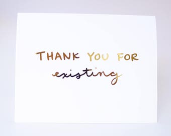 Thank You Card / Real Gold Foil / TY Greeting Card / Friendship Card