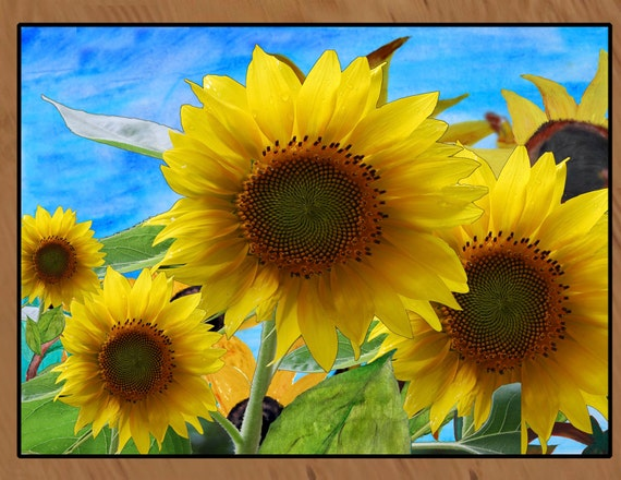 Indoor Outdoor Sunflower Floor Rug. Available in four sizes by Maremade