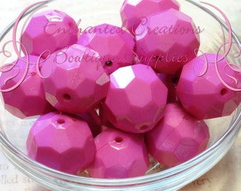 22mm Rose Pink Faceted Acrylic Beads 8pcs