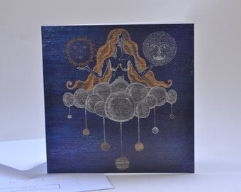 Gaia Mother Earth Planets Cloud Greeting Card