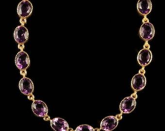 Antique Victorian Amethyst Paste Gold Necklace Circa 1880