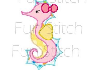 seahorse applique machine embroidery design