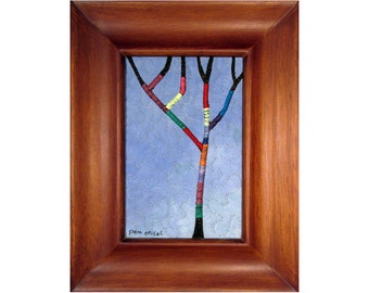 Mini Art Quilt, Framed Landscape Quilt, Tree, Yarn Bomb