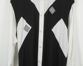 Vintage shirt, 90s clothing, shirt 90s, black & white, oversized