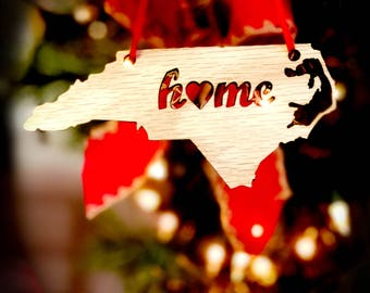 Wooden Home State Shape Christmas Ornaments