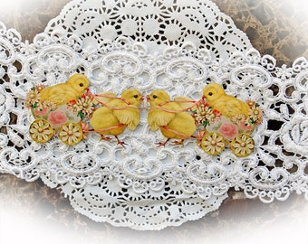 Reneabouquets Vintage Sweet Baby Chicks With Cart Premium Paper Die Cut Set Of 2, One Left Facing & One Right Facing, Die Cuts