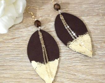 Burgundy Feather Earrings, Dangle earrings, Leather earrings