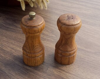 Vintage Salt and Pepper Shakers, Wooden Salt and Pepper Shakers, Pepper Grinder, Pepper Mill, Made in Taiwan, Fries with That Shake?