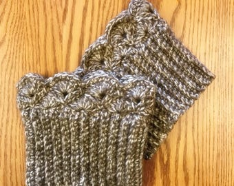 Taupe Tweed Boot Cuffs, Boot Toppers