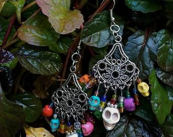 Colorful Skull Chandelier Earrings