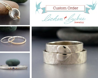 Custom Order for Jasmine - Chatham emerald and moissanite 14k yellow gold ring set