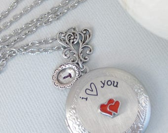 I love you, Heat Locket,Red Heart,Love Locket,I love you to the moon Necklace,Silver Locket,Necklaces,Locket Necklaces,Heart,Valleygirldesig