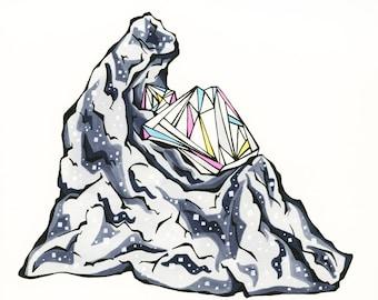 Diamond Gemstone Print of Original Drawing - Birthstone - April Birthday