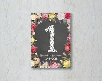 Floral Chalkboard Wedding Table Number