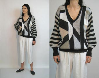 Geometric Striped Balloon Sleeve Sweater / Vintage 80s Deepest V Neck Sweater / Billow Sleeve Sweater / Mixed Neutrals Jumper