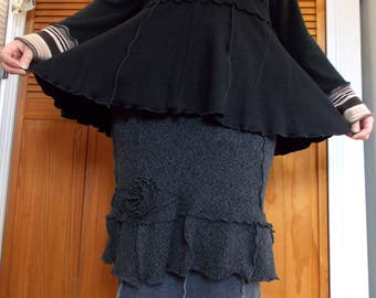 Asymmetric Collar Sweater Large L/XL Ruffled Recycled Eco Friendly Art To Wear Black