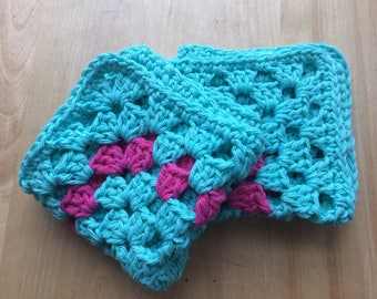 Granny Square Cotton Dishcloths, Set of 2, Crocheted Dishcloths, Facecloths, Set of Washcloths