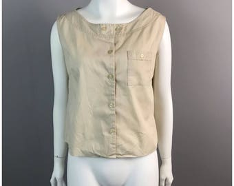 Vintage 1940s Beige Cotton Boatneck Sleeveless Button Up  Blouse Top / Women's Small / 40s Pinup Rockabilly Cropped Top