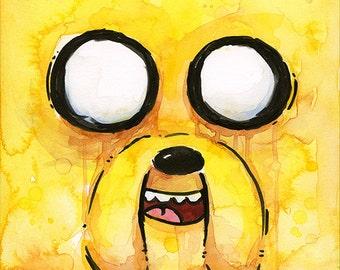 Jake Dog Face ORIGINAL Watercolor Painting, Cartoon Yellow Dog Face Fan Art 5x7