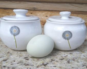 Pottery Egg Poacher, Dandelion, Microwave Egg Poacher, Microwave Egg Cooker, Ceramic Egg Cooker, Egg Poacher, Made in Montana, flower
