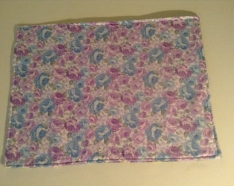 Handmade Reversible Lavender Floral Quilted Placemat 13 x 18 inches set of 2