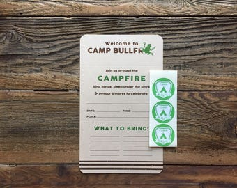 Camp Bullfrog - Camp Theme Party - Camping - Outdoor Party - Folding Invite with Sticker Seal - set of 6