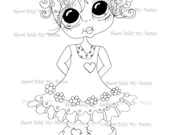 INSTANT DOWNLOAD Digital Digi Stamps Big Eye Big Head Dolls Digi  IMG872  By Sherri Baldy