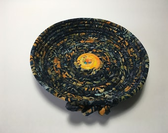 Navy and Orange Coiled Rope Tray, Shallow Fabric Bowl, Catchall Basket, Quiltsy Handmade