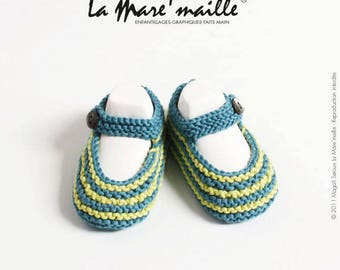 Hand knitted striped organic cotton baby blue and green pond ' mesh
