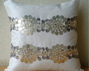 "Designer Metal Sequins Throw Pillows Cover, Ivory Throw Pillows Cover Silk Pillows Cover, Square  20""x20"" - Silver And Gold"