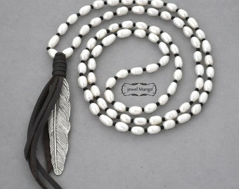 Pearl leather long necklace, pearl necklace, white freshwater pearl leather necklace,leather,pearl,feather, beaded long necklace, large wing