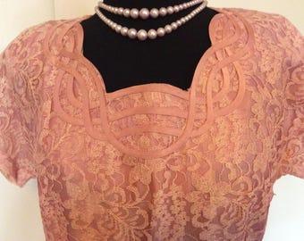 Vintage Pink Lace Dress - M