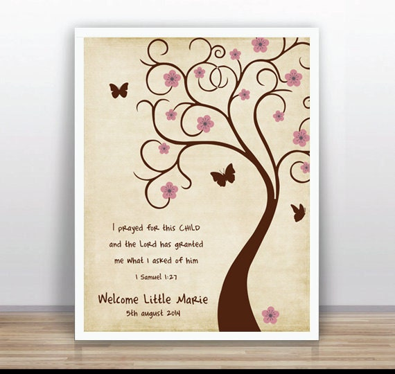 Bible Verse Thumbprint Tree Guest Book Poster Printable Baby Shower, Custom  Text, Color And Language Available