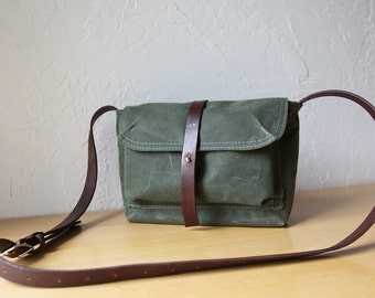 Waxed Canvas and Leather Crossbody Bag // The Small Satchel in Evergreen // Weather Resistant