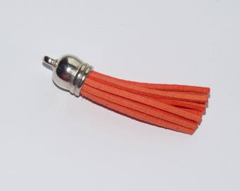 Length 6cm deep orange suede tassel