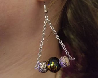 Black, blue, and gold 3 bead earrings