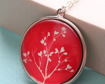 Red Tree Pendant - Glass - Silver Plated