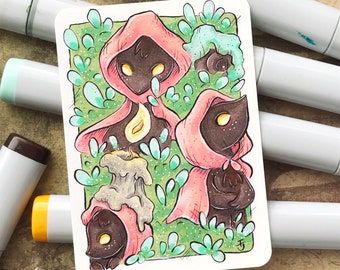 Adventure - Original ACEO hand drawn, copic illustration, Artist Trading Card, Sketchcard 2.5 x 3.5 inches