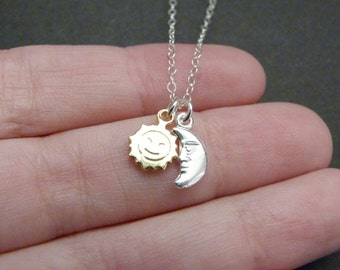 Moon sun necklace, sterling silver, small charms, solar system jewelry, girlfriend gift