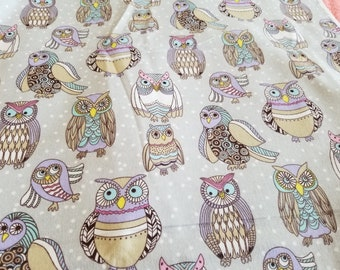 Owl Flannel Fabric | Pastel Girl Nursery Fabric | Abstract Owl Fabric | Woodland fabric | fabric by the yard | Fabric for Her