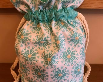 Small Knitting Project Bag, Crochet Bag, Drawstring Bag, Gift Bag, Fabric Bag, Storage Bag, Cosmetic Bag, Flowers, Circles, Mother's Day