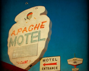 Route 66 Photography Fine Art Print Retro Motel Sign Rustic Wall Art Apache