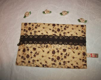 Pouch / purse with make-up or ID - 2 matching cotton fabric beige/chocolate