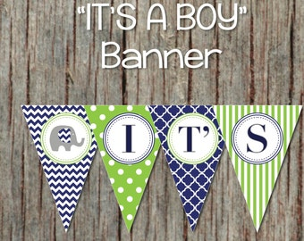 Navy Blue Lime Green Baby Shower Banner Instant Download Its a Boy diy Digital Decorations Elephant Pennant Banner 013